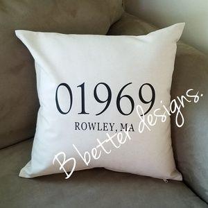 Zip code Throw Pillows 18x18 inches